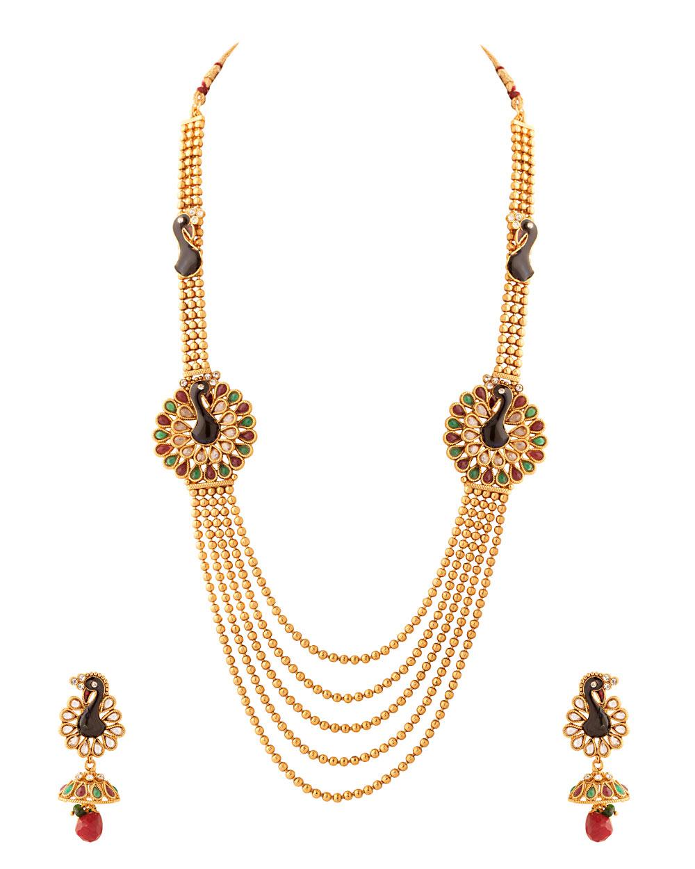 Buy Flower Motif Rani Haar Necklace Set Online India | Voylla